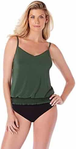 96cf38126629f Magicsuit Women's Swimwear Solid Justina Blouson Style V-Neck Tankini Top  with Soft Cup Bra