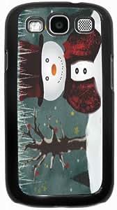 Rikki KnightTM Holidays Snowman Design - Black Hard Rubber TPU Case Cover for Samsung? Galaxy i9300 Galaxy S3