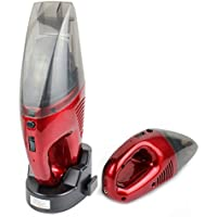 Handheld Dry And Wet Wireless Vacuum Cleaner - Portable Car / Pet Hair Cleaner - Battery with Cyclonic Suction and Quick Charge Technology Red