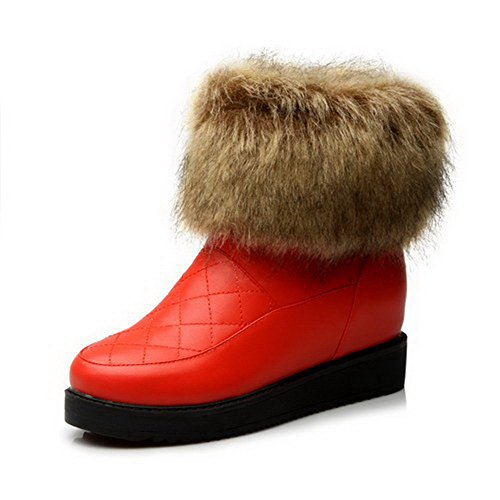 with M PU Inside 5 Red Toe Solid B AmoonyFashion and Womens Platform Round Heighten Close US Boots Kitten Heels ZqZTzwPY