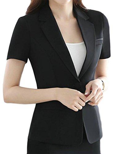 Cromoncent Women's Office Lady Short Sleeve Business One Button Blazer Jacket Black (Stretch Short Sleeve Blazer)