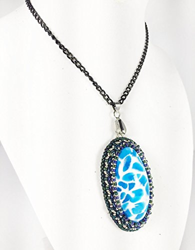 Leenou Handmade Necklace with Bead Embroidered Blue Waves Polymer Clay Pendant with Black Glittering Chain for Wedding Anniversary Gift Birthday