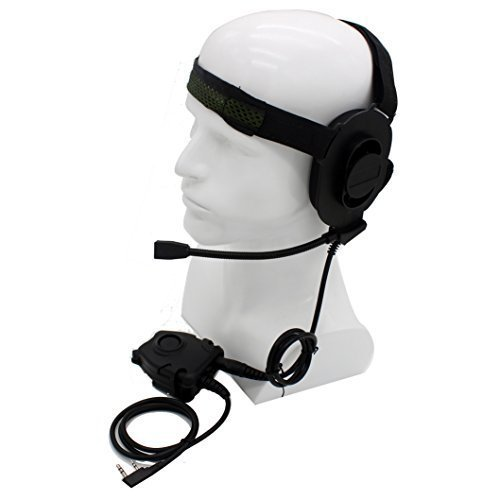 HD01 Z Tactical Bowman Elite II Headset with Peltor Style PTT For Kenwood 2 Pin Two Way Radio BaoFeng UV-5R UV-89 PuXing PX-888K QuanSheng WouXun TYT (Sealed Headset Earcup)