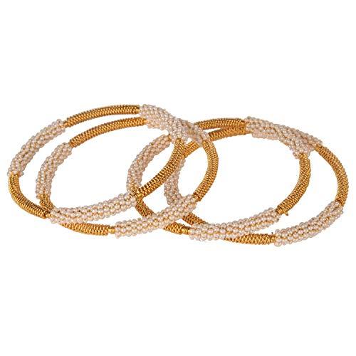 Efulgenz Fashion Jewelry Indian Bollywood 14 K Gold Plated Faux Pearl Crystal Multicolor Bracelets Bangle Set (4 Pc)
