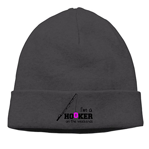 Fishing I Am A Hooker On The Weekends Unisex Beanie Hat Hipster Beanie Cap -  Black -