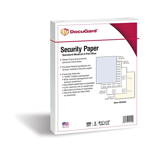 - DocuGard Standard Medical Security Paper for Printing Prescriptions and Preventing Fraud, CMS Approved, 6 Security Features, Laser and Inkjet Safe, Blue/Canary 2-Part, 8.5 x 11, 24 lb., 250 Sets (04544)