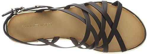 Tommy Hilfiger Leather Strappy Flat Sandal, Sandalias de Talón Abierto Para Mujer Negro (Black 990)