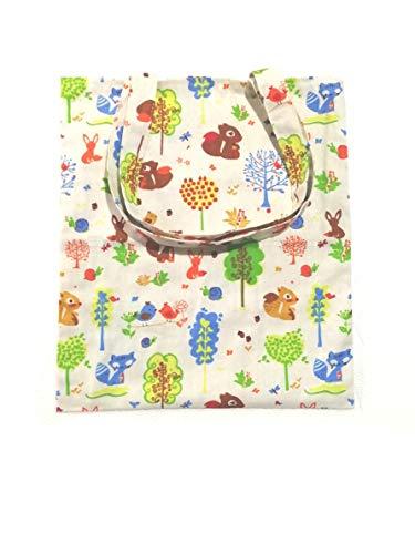Chezi Women's Colorful Squirrel Cotton Canvas Tote Shoulder Shopping Bag Beige (no)