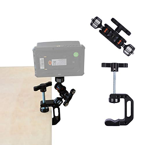 DIGITALFOTO Adjustable Camera Clamp Mount Heavy Duty Accessory Articulating Compatible with Monitor LED Action Camera Gopro DSLR Canon Nikon Sony Fujifilm Panasonic Cameras Spotting Scopes Binoculars