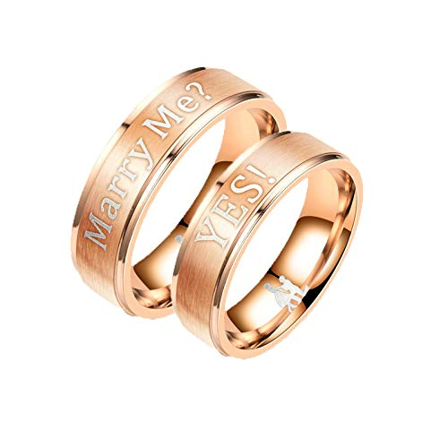 KnSam 2 Pcs Couple Rings Stainless Steel Engraved Marry Me ? Yes ! Rose Gold Women Ring 5 Men Ring 9 (White Men Looking For Black Women To Marry)