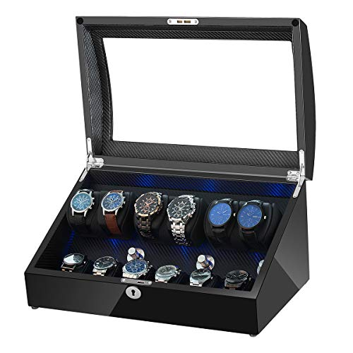 OLYMBROS Automatic Watch Winder 6 with 6 Extra Storages Spaces for 12 Watches with LED Light