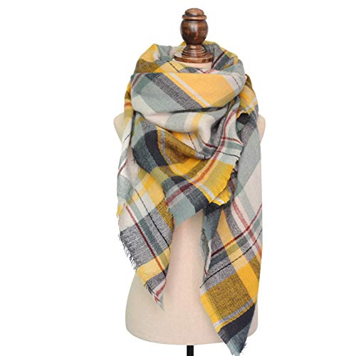 Dora Bridal Lady Women Blanket Oversized Tartan Scarf Wrap Shawl Plaid Cozy Checked Pashmina (One Size, Yellow) (Scarf Neck Warmer)