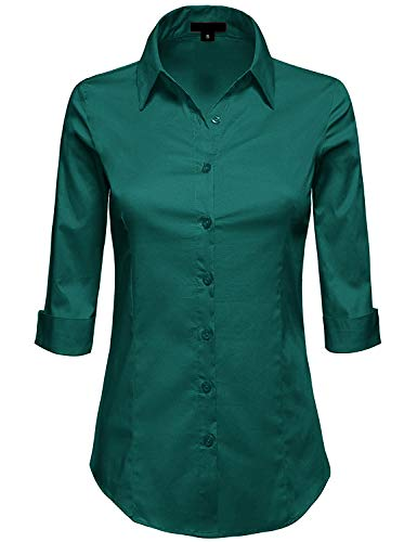 MAYSIX APPAREL Plus Size Womens 3/4 Sleeve Stretchy Button Down Collar Office Formal Shirt Blouse Huntergreen 2XL