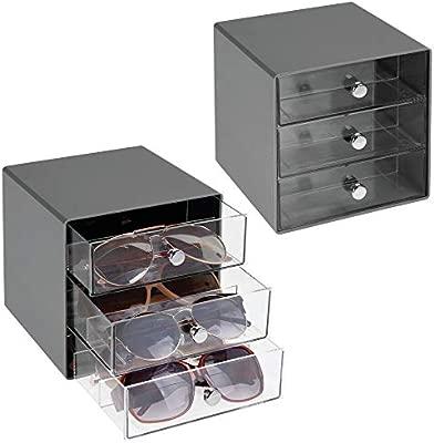 mDesign Juego de 2 cajas para gafas de sol – Cajoneras de plástico con 3 compartimentos – Organizador de armarios para guardar todo tipo de gafas – ...