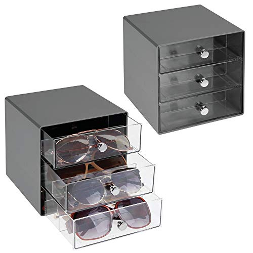 Glass Clear Charcoal - mDesign Stackable Plastic Eye Glass Storage Organizer Box Holder for Sunglasses, Reading Glasses, Accessories - 3 Divided Drawers, Chrome Pulls, 2 Pack - Charcoal Gray/Clear