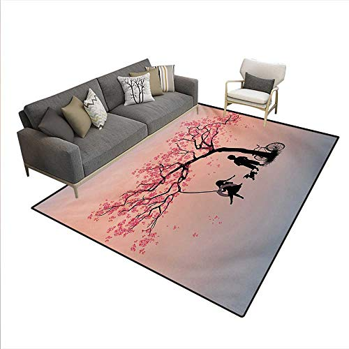 Cherry Outdoor Swing - Carpet,Children Playing on a Tire Swing Under Cherry Tree with Dog Blossom Spring Art,Outdoor Rug,Pink Black,6'6