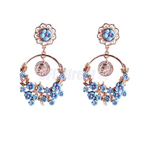 Blue Long Women Fashion Baroque Flower Golden Leaves Dangle Earrings Jewelry