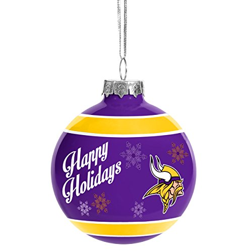 Christmas Holiday Glass Ball Ornament - Minnesota Vikings