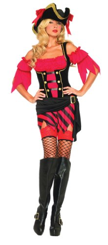 Leg Avenue Women's Buccaneer Babe Costume, Black/Red, Medium/Large -