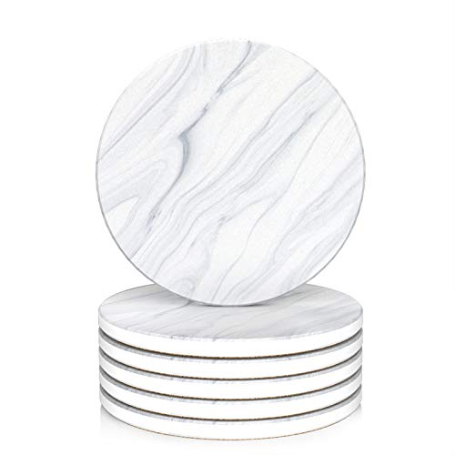 LIFVER Coasters for Drink, Marble Coasters Set of 6, Absorbent Coasters with Cork Base for protect furniture or tabletops from scratches or scuffs, Housewarming Gift for Home Decor