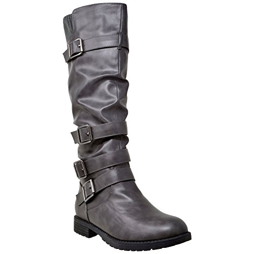 Boots Gray Leather - Generation Y Womens Knee High Boots Faux Leather Slouchy Adjustable Buckles Gray SZ 6