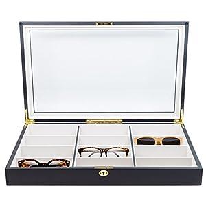 12 Piece Extra Large Ebony Wood Eyeglass Sunglass Glasses Display Case Storage Organizer Collector Box