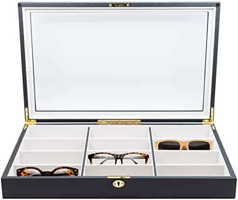 12 Piece Extra Large Ebony Wood Eyeglass Sunglass Glasses Display Case Storage Organizer Collector Box