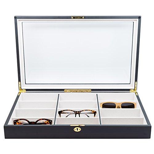 12 Piece Extra Large Ebony Wood Eyeglass Sunglass Glasses Display Case Storage Organizer Collector - Eyeglasses Case Display