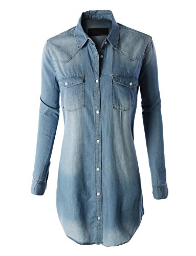 LE3NO Womens Classic Chambray Pocket product image