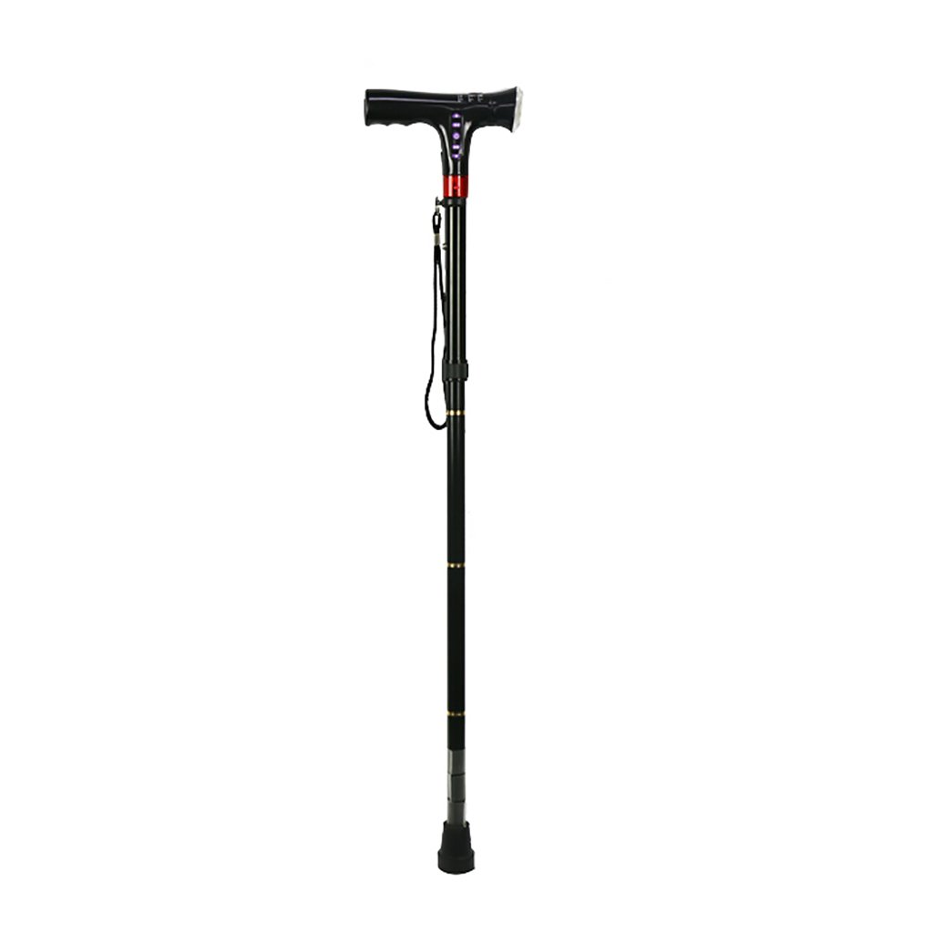 XUEPING 杖高齢者のインテリジェントな松葉杖80cm - 90センチメートルの多機能引っ込め折りたたみ歩行スティック調整範囲黒 B078W7V7X1
