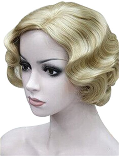 ROLECOS Sexy Flapper Wigs Short Wavy Marilyn Monroe Costume Wig Halloween Cosplay -7 (Marilyn Monroe Wig)