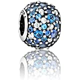 Pandora Damen-Bead Pavè-Kugel Himmelsmosaik 925 Silber Zirkonia blau - 791261NSBMX
