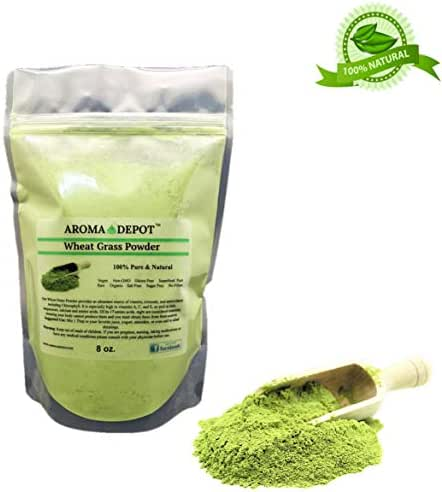 Aroma Depot 8oz Organic Wheatgrass Juice Powder I All Natural Raw Concentrate Wheatgrass, Gluten Free, Whole Food Supplement, Non_GMO, No Fillers, Rich in Vitamin B1 & B2, Increase Blood Cell Oxygen