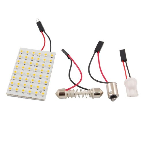 SODIAL(R) Warm White 48 LED Panel 3528 SMD Dome Light Lamp + T10 BA9S Festoon Adapter
