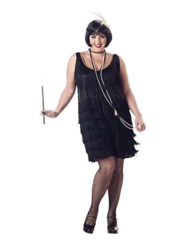 California Costumes Women's Fashion Flapper Plus Size Costume, Black, 2XL (18-20)]()