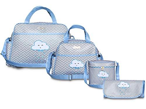 Kit Bolsas Maternidade 4 peças Chuva de Amor BBkits (Azul Bebê)