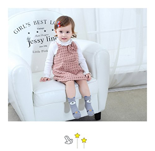 Baby Toddler Boys Girls Socks, Kids Anti Slip Cartoon Animal 6 Pairs Cotton Stockings (0-2 Years) by NUZIKU (Image #5)