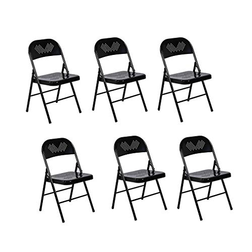 (LBYMYB Metal Folding Chair Home Office Conference Chair Training Chair 6 Pieces Chair (Color : Black))