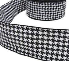5 Yds Black White Houndstooth Herringbone Woven Wired Ribbon 2 1/2