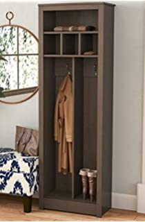 Hall Trees with Bench and Coat Racks - Espresso Wood with Upper Shelf Three Cubbies -