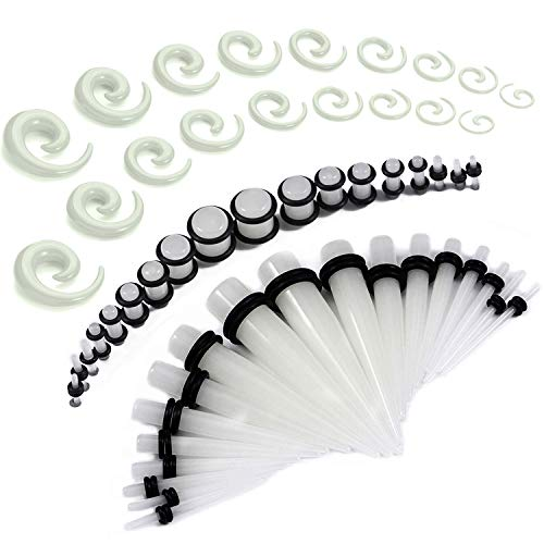BodyJ4You 54PC Gauges Kit Ear Stretching 14G-00G Glow Dark Acrylic Spiral Tapers Plugs Piercing Set ()