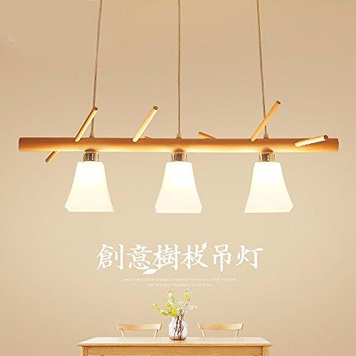 Restaurante nórdico Candelabro tres cabezas creativas de madera madera iluminación lámparas de mesa,luz cálida