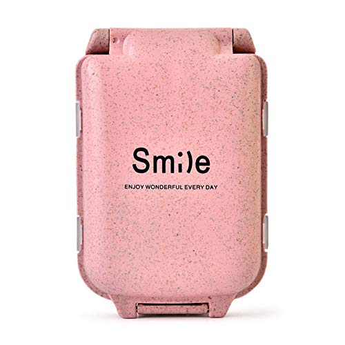 ♛ Euone Clearance ♛, Compartment Travel Pill Box straw Tablet Medicine Storage Dispenser Care Tool (Pink)