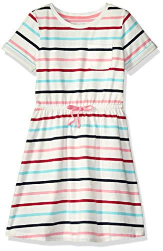 Multi Stripe Dress - Amazon Essentials Toddler Girls' Short-Sleeve Elastic Waist T-Shirt Dress, Multi Stripe White Bow, 2T