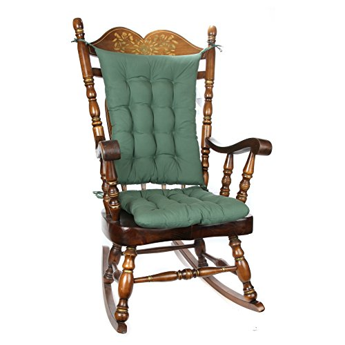 Trenton Gifts 2 Piece Padded Rocking Chair Cushion Set - Green