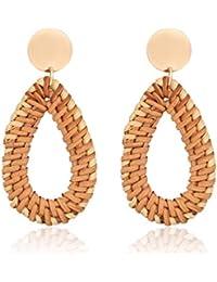 09a3cb1b9b4 Rattan Earrings for Women Handmade Straw Wicker Braid Drop Dangle Earrings  Lightweight Geometric Statement Earrings