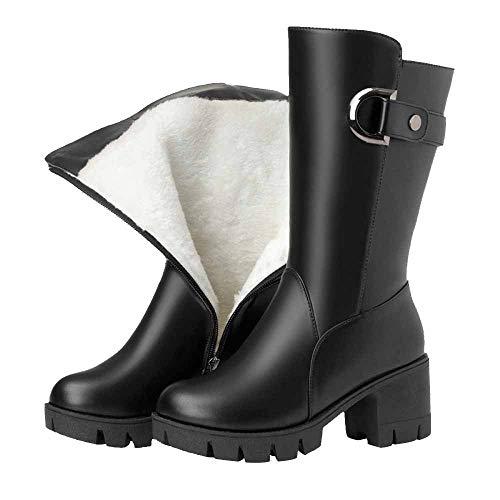 E Con Velluto Scarpe Donna Black Pelle Spessi Alti Le Confortevole Donne Inverno Martin Caldo Boots Autunno Di Da Stivali 8EPqwZY