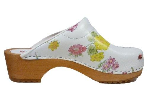 Buxa Zuecos de Cuero para Mujer con suela de Madera y el relleno. Patrón de Flores Blanco (Flores)