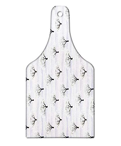 Ambesonne Winter Cutting Board, Horizontal Wavy Lines Snow Covered Garden Trees Rural Scenic Country, Decorative Tempered Glass Cutting and Serving Board, Wine Bottle Shape, Lilac Sage Green Black