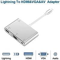 redcolourful Convertidor para Lightning a HDMI VGA AV Jack Audio TV Cable Adaptador para iPhone X iPhone 8 7 7 Plus 6 6S para iPad Series Plata